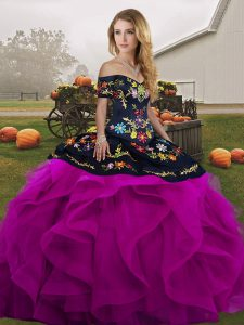 High Class Black And Purple Ball Gowns Off The Shoulder Sleeveless Tulle Floor Length Lace Up Embroidery and Ruffles Ball Gown Prom Dress
