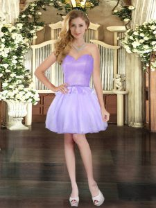 Lavender Ball Gowns Sweetheart Sleeveless Organza Mini Length Lace Up Beading Evening Dress