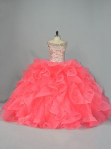 Watermelon Red Ball Gowns Organza Off The Shoulder Sleeveless Beading and Ruffles Lace Up Quinceanera Gown