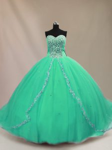 Luxurious Turquoise Ball Gowns Sweetheart Sleeveless Tulle Court Train Lace Up Beading 15 Quinceanera Dress