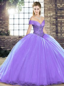 Clearance Ball Gowns Sleeveless Lavender Vestidos de Quinceanera Brush Train Lace Up
