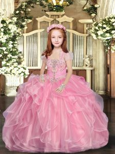 Glorious Baby Pink Lace Up Straps Beading Custom Made Pageant Dress Organza Sleeveless