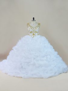 Custom Made Brush Train Ball Gowns Sweet 16 Dresses White V-neck Organza Sleeveless Lace Up