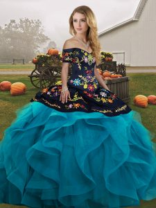 Teal Ball Gowns Embroidery and Ruffles Sweet 16 Quinceanera Dress Lace Up Tulle Sleeveless Floor Length