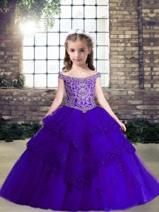 Hot Selling Purple Tulle Lace Up Off The Shoulder Sleeveless Floor Length Little Girl Pageant Gowns Beading and Lace and Appliques