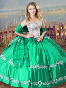 Floor Length Lace Up 15 Quinceanera Dress Turquoise for Sweet 16 and Quinceanera with Beading and Embroidery