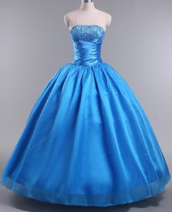 Fashionable Blue Lace Up Sweet 16 Dress Beading Sleeveless Floor Length