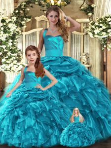Sleeveless Lace Up Floor Length Ruffles and Pick Ups Sweet 16 Quinceanera Dress