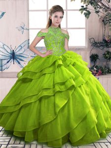 Olive Green Ball Gowns Beading and Ruffled Layers 15 Quinceanera Dress Lace Up Organza Sleeveless Floor Length