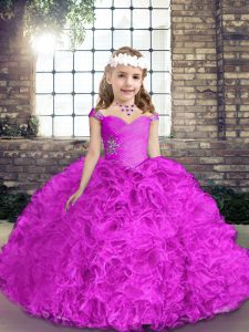 Straps Sleeveless Fabric With Rolling Flowers Glitz Pageant Dress Beading Lace Up