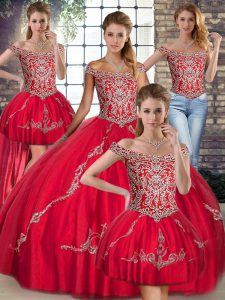 Fitting Red Tulle Lace Up Off The Shoulder Sleeveless Floor Length 15th Birthday Dress Beading and Embroidery