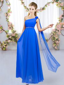On Sale Royal Blue Chiffon Lace Up Bridesmaid Gown Sleeveless Floor Length Beading and Hand Made Flower
