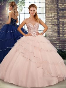 Peach Lace Up Sweetheart Beading and Ruffled Layers Sweet 16 Quinceanera Dress Tulle Sleeveless Brush Train