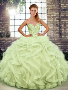 Yellow Green Ball Gowns Sweetheart Sleeveless Tulle Floor Length Lace Up Beading and Ruffles Sweet 16 Dresses