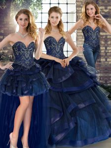 Classical Sleeveless Tulle Floor Length Lace Up Ball Gown Prom Dress in Navy Blue with Beading and Ruffles