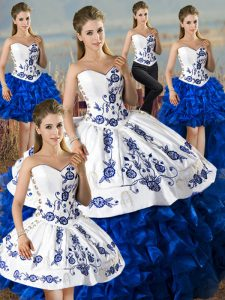 Dynamic Sweetheart Sleeveless Quinceanera Gowns Floor Length Embroidery and Ruffles Blue And White Organza