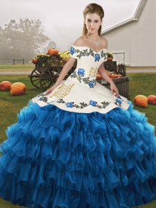 Sleeveless Organza Floor Length Lace Up Quince Ball Gowns in Blue And White with Embroidery and Ruffled Layers