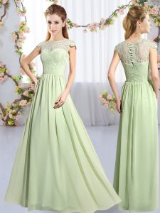 Great Cap Sleeves Floor Length Lace Clasp Handle Bridesmaids Dress with Yellow Green