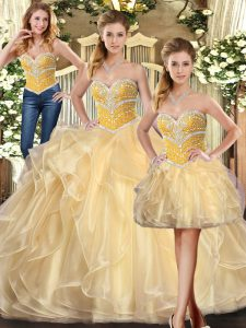 Perfect Champagne Ball Gowns Sweetheart Sleeveless Organza Floor Length Lace Up Beading and Ruffles Quince Ball Gowns