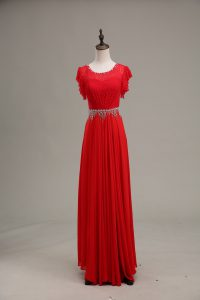 Red Zipper Scoop Beading and Lace Juniors Evening Dress Chiffon Sleeveless