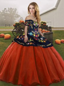 Embroidery 15th Birthday Dress Rust Red Lace Up Sleeveless Floor Length
