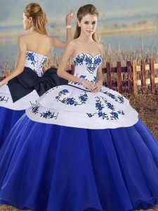 Tulle Sleeveless Floor Length Sweet 16 Quinceanera Dress and Embroidery and Bowknot