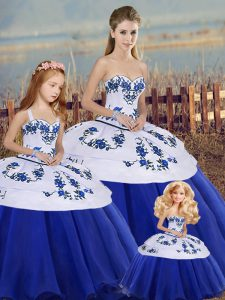 New Style Floor Length Royal Blue Sweet 16 Dresses Sweetheart Sleeveless Lace Up