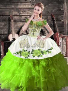 Embroidery and Ruffles Quinceanera Dress Green Lace Up Sleeveless Floor Length