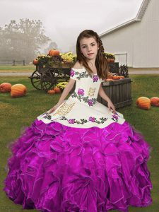 Sleeveless Floor Length Embroidery and Ruffles Lace Up Pageant Dress for Womens with Fuchsia