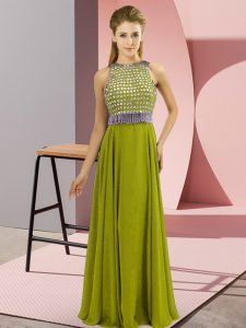 Olive Green Prom Dresses Prom and Party with Beading Scoop Sleeveless Side Zipper