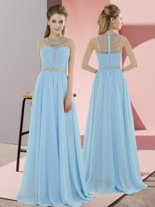 Artistic Floor Length Zipper Prom Evening Gown Light Blue for Prom and Party with Beading