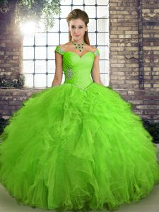 Sleeveless Floor Length Beading and Ruffles Lace Up Quinceanera Gowns with