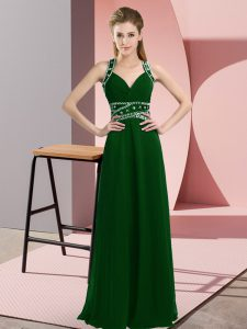 Wonderful Dark Green Empire Beading Prom Evening Gown Backless Chiffon Sleeveless Floor Length