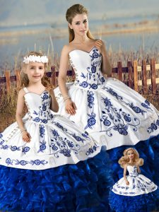 Blue And White Sleeveless Floor Length Embroidery and Ruffles Lace Up 15 Quinceanera Dress