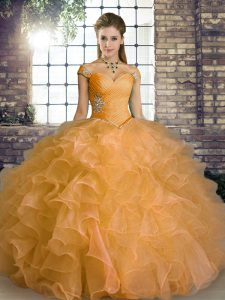 Floor Length Lace Up Quinceanera Dress Orange for Military Ball and Sweet 16 and Quinceanera with Beading and Ruffles