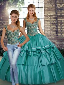 Dramatic Straps Sleeveless Quinceanera Gowns Floor Length Beading and Ruffled Layers Teal Taffeta