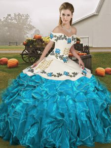 Deluxe Sleeveless Lace Up Floor Length Embroidery and Ruffles Sweet 16 Dresses