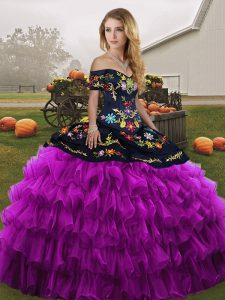 Luxury Off The Shoulder Sleeveless 15 Quinceanera Dress Floor Length Embroidery and Ruffled Layers Black And Purple Organza