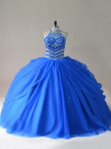 Royal Blue Sleeveless Tulle Lace Up Ball Gown Prom Dress for Sweet 16 and Quinceanera