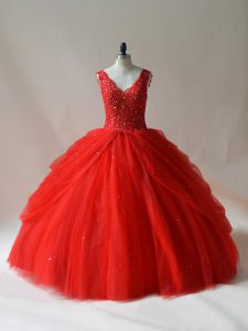 Discount Floor Length Red Sweet 16 Dress Tulle Sleeveless Beading