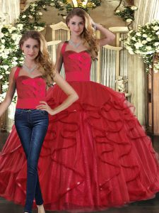 Red Tulle Lace Up Sweet 16 Quinceanera Dress Sleeveless Floor Length Ruffles