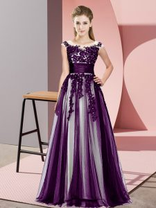 Beading and Lace Dama Dress for Quinceanera Dark Purple Zipper Sleeveless Floor Length