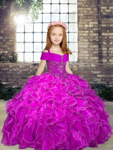 Hot Sale Straps Sleeveless Lace Up Little Girl Pageant Dress Fuchsia Organza