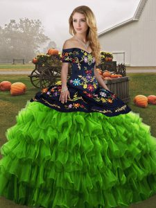 On Sale Ball Gowns Quinceanera Gowns Green Off The Shoulder Organza Sleeveless Floor Length Lace Up