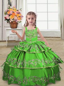 Perfect Green Sleeveless Floor Length Embroidery and Ruffled Layers Lace Up Pageant Dress for Teens