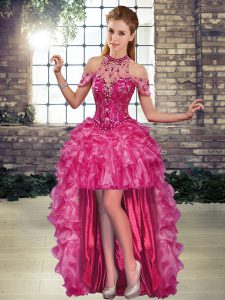 Fuchsia Lace Up Prom Dresses Beading and Ruffles Sleeveless High Low