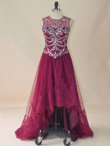A-line Homecoming Dress Burgundy Scoop Tulle Sleeveless High Low Lace Up