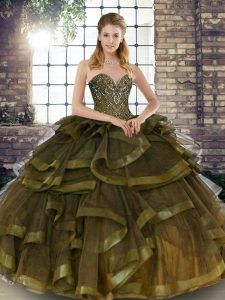 Olive Green Sleeveless Floor Length Beading and Ruffles Lace Up Sweet 16 Dress