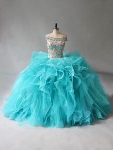Brush Train Ball Gowns 15th Birthday Dress Aqua Blue Off The Shoulder Organza Sleeveless Lace Up