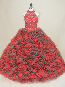 Dazzling Multi-color Ball Gowns Embroidery Quinceanera Dress Lace Up Sleeveless
